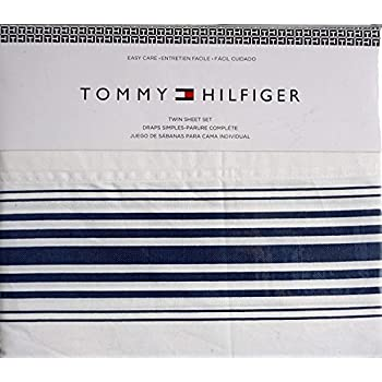Tommy Hilfiger 3 Piece Cotton Twin Easy Care Sheet Set Blue Stripes of Varying Width on White -- Baja Stripe