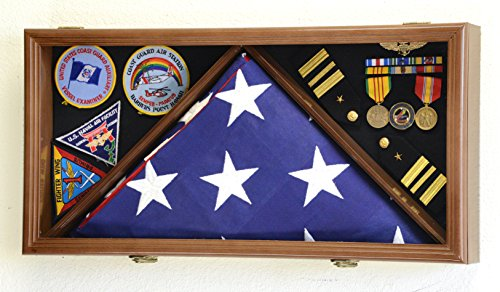 Large Flag & Medals Military Pins Patches Insignia Holds up to 5x9 Flag Display Case Frame Cabinet Shadowbox (Walnut Finish)