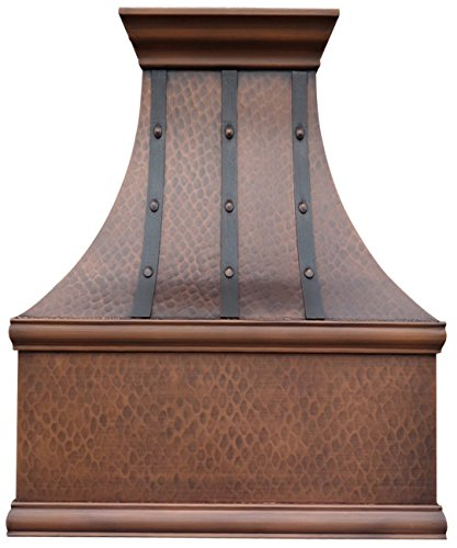 Copper Best H7 302139LT Copper Kitchen Range Hood with Hammered Strips and Round Head Rivets, Includes High Airflow