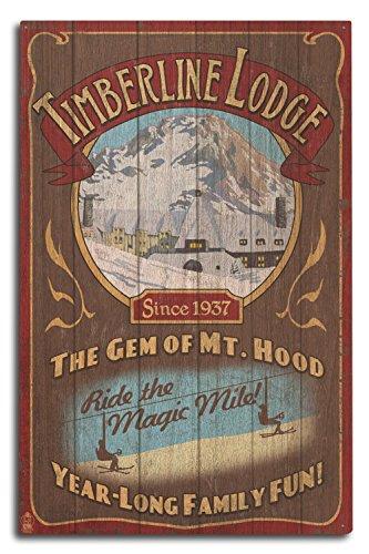 Lantern Press Mt. Hood, Oregon - Timberline Lodge Vintage Sign (10x15 Wood Wall Sign, Wall Decor Ready to ()
