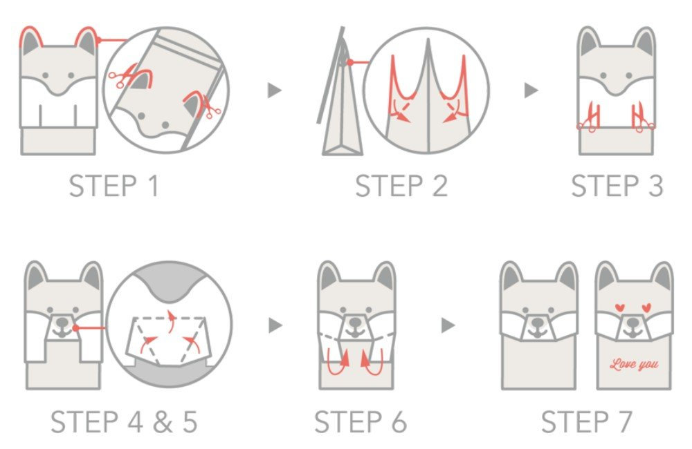 GOTOME Animal Gift Bag Origami Paper Tear to Open Gift Bag 2017 Red Dot Desgin Award 7.5x3.9x10.6 Large 19x10X27cm Gray Cat