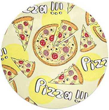 Pizza Kitchen Bar Glass Cutting Board - 12 In round