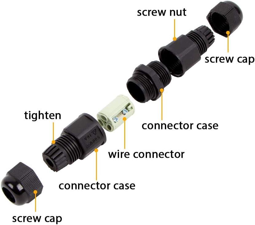 paquet de 2 connexion de c/âble ext/érieur de manchon /étanche IP68 pour un diam/ètre de c/âble max /Ø7,3 mm Connecteur de c/âble ext/érieur de bo/îte de jonction /étanche