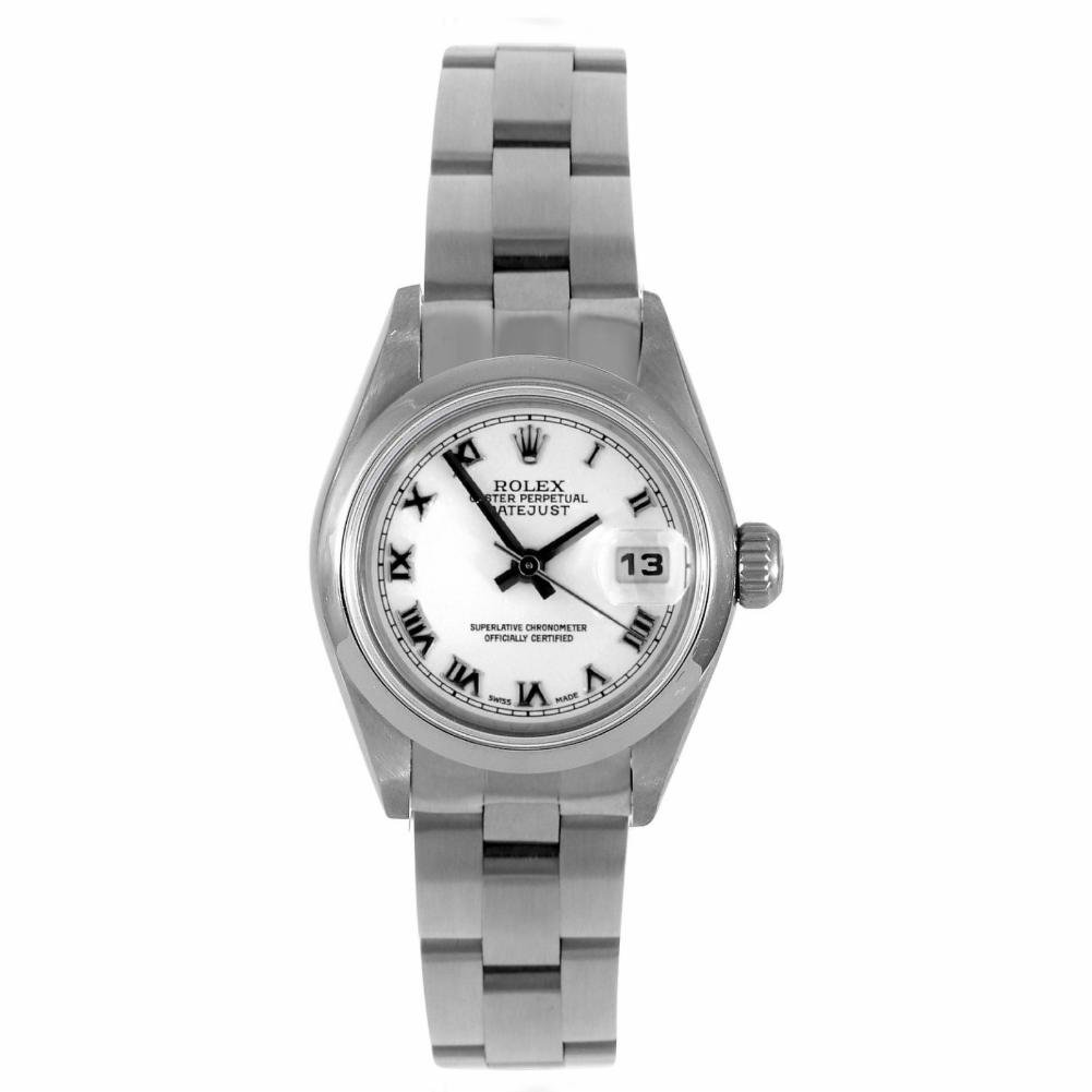 Rolex Ladies 26mm Stainless Steel Datejust Swiss-Automatic Watch - 6916 – White Roman Dial – Stainless Steel Smooth Bezel – Stainless Steel Oyster Band (Certified Pre-Owned)