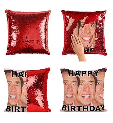 Happy Birthday Nicolas Cage Faces Actor P27 Sequin Pillow, Sequin Pillowcase, Two Color Pillow, Gift for her, Gift for him, Magic Pillow, Mermaid Pillow, Scales Pillow Cover