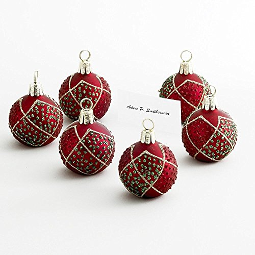 Kurt Adler Red, Green And Gold Glass Ball Placecard Holders Set Of - Card Place Holders Christmas