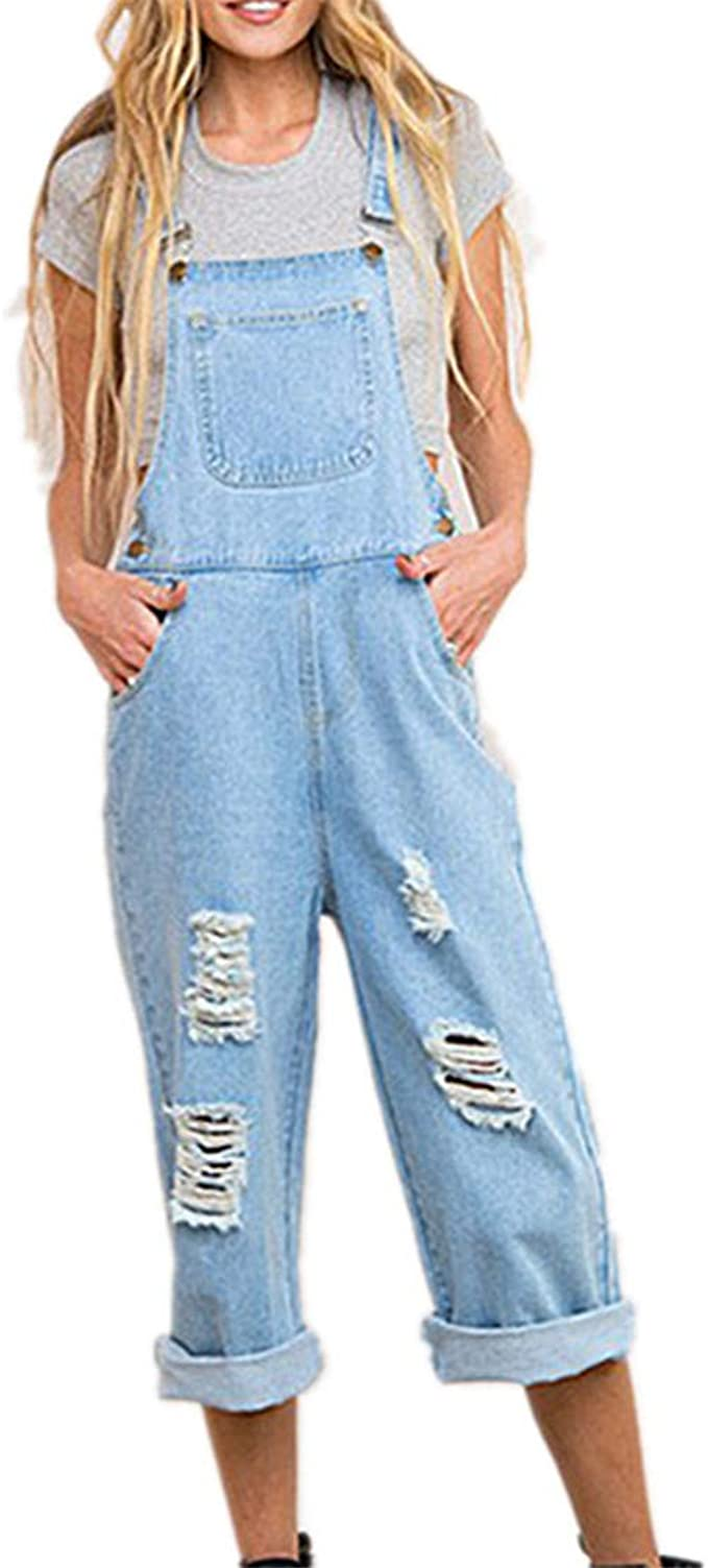 Odot Salopette Pantaloni Ragazza Donna Jeans Sciolto Overall Lunga Dungarees Tuta Denim Casual Pantaloni Bavaglino Jumpsuit Moda Hippie Cinturino
