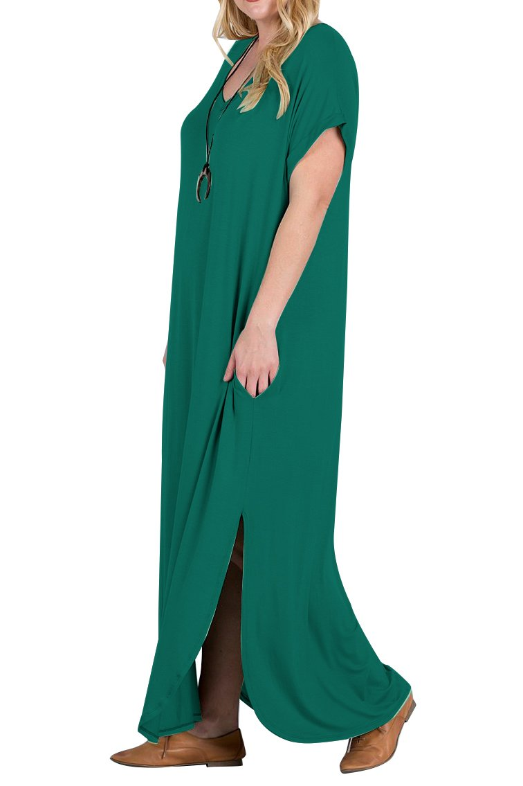 Women\'s Casual Loose Long Dress Short Sleeve Spaghetti Strap Cold Shoulder Split Maxi Dresses with Pocket (7018-Green, Large)