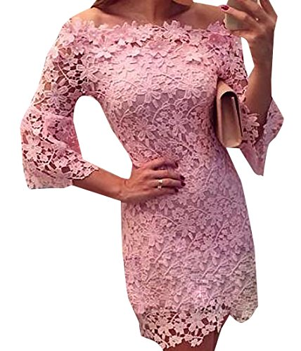 Cruiize Shoulder Sleeve Off Pink Womens Dress Long Out Hollow Lace vWq7v46
