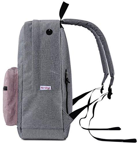 HotStyle 915s Vintage mochila colegio 24L - Impermeable para portatil de 15-inch - Negro F136E, Gris/Rosa