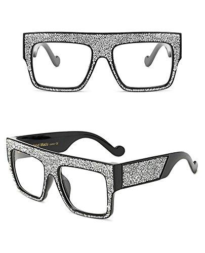 soleil unisexe Gradient Lunettes étoiles Lunettes Dim soleil Clear de Femme Marque surdimensionné sol Silver Aprigy de Oculos pour de Designer homme P4Fv7qw
