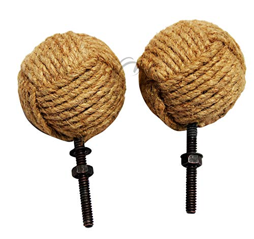 MAH Decorative 2 Knotty Door knobs - Nautical Drawer pulls - Jute Rope Drawer pulls. C-3100