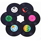 Ankzon Coasters Drinks Gift Box - Set of 6 Colorful Retro Vinyl Record Disk Coasters Funny Labels-Prevent Furniture from Dirty Scratched-4.2 Inch