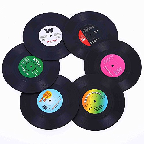 Ankzon Coasters for Drinks with Gift Box - Set of 6 Colorful Retro Vinyl Record Disk Coasters with Funny Labels-Prevent Furniture from Dirty and Scratched-4.2 Inch ()