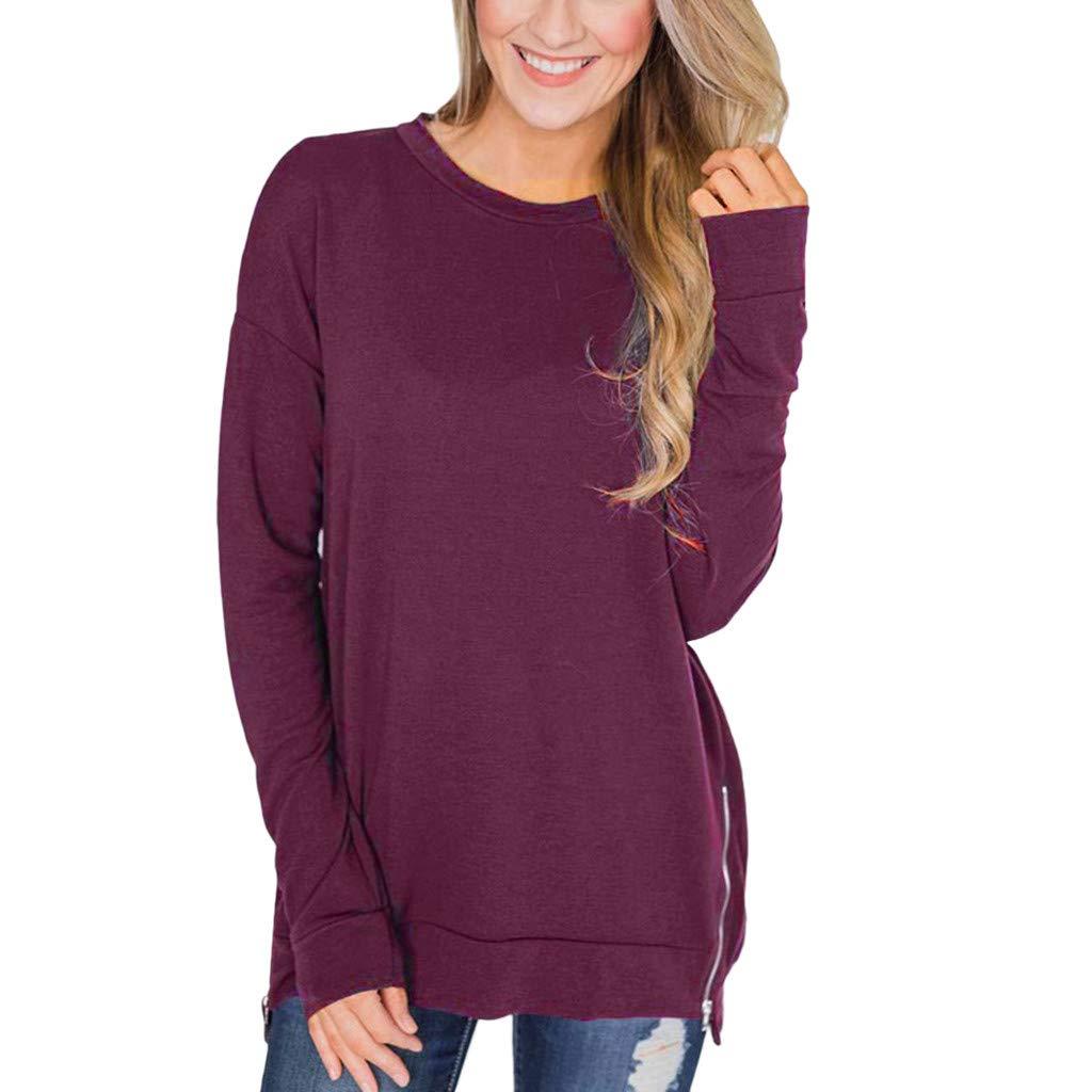 Womens Pullover Sweatshirt Casual Long Sleeve Crew Neck Plain Soft Lightweight Basic Shirt Tops Goosun Loose Zipper Side Tunic Pullover Top T Shirt Black,Red,Green,Gray