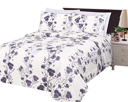 Bamboo Living Ultra Soft Silky Rich Printed Bamboo 3 Pieces Duvet Cover Set with 2 Pillow Shams, Purple Carnation Flower Pattern Queen Size (Duvet Purple And White Cover)