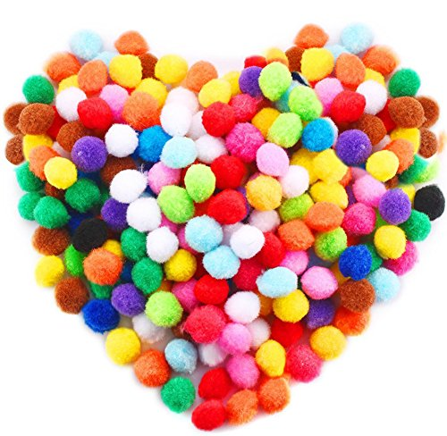 Acerich 250 Pcs 1 Inch Assorted Pompoms Multicolor Arts and Crafts Fuzzy Pom Poms Balls for DIY Creative Crafts Decorations