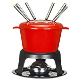 VonShef Fondue Set with 6 Forks Stylish Cast Iron Porcelain Enamel Pot Makes All Styles of Fondue Such as Cheese and Chocolate 63 fl oz Capacity 12pc Set Red