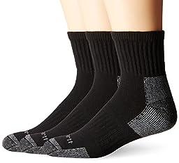 Carhartt Men\'s 3 Pack Work Quarter Socks,  Black, Shoe: 6-12