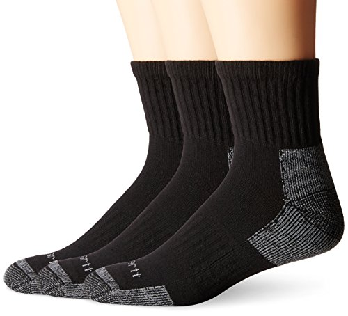 Carhartt Men's Cotton Quarter Work Socks,  Black, Sock Size:10-13/Shoe Size: - Socks Quarter Cushioned Sport