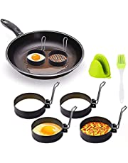 Egg Rings Stainless Steel Set Frying Or Shaping Eggs - Round Egg Cooker Rings For Cooking - Stainless Steel Non Stick Mold Shaper Circles For Fried Egg McMuffin Sandwiches