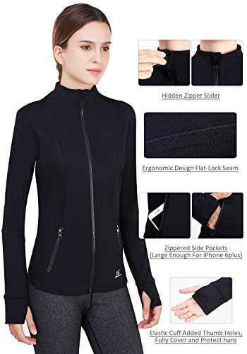 Matymats Women's Active Full-Zip Track Jacket Yoga Running Athletic Coat With Thumb Holes,Large,Black by Matymats (Image #6)