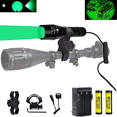 BESTSUN Green Light 350 Yards Predator Light Zoomable Tactical Hunting Green Led Flashlight Coyote Varmint Hunt Torch with Pressure Switch Picatinny Rail & Scope Mounts, Batteries and Charger