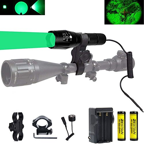 (BESTSUN Green Light 350 Yards Predator Light Zoomable Tactical Hunting Green Led Flashlight Coyote Varmint Hunt Torch with Pressure Switch Picatinny Rail & Scope Mounts, Batteries and Charger)