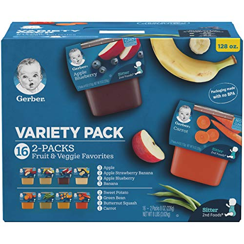 - Gerber Purees 2nd Foods Veggie and Fruit Variety Pack, 16 Count