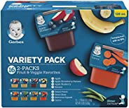 Gerber Purees 2nd Foods Veggie & Fruit Variety Pack, 8 Ounces, Box of 16 (packaging may v