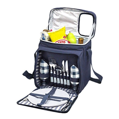 New Insulated Picnic Basket Set - Lunch Tote Backpack Cooler w/ Utensils and Plates