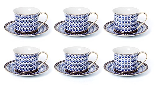 Euro Porcelain 12-Pc. Tea / Coffee Cup and Saucer Set (7 oz.) 24K Gold-Plated accents, Premium Bone China Service for 6 (Cobalt Eye) ()