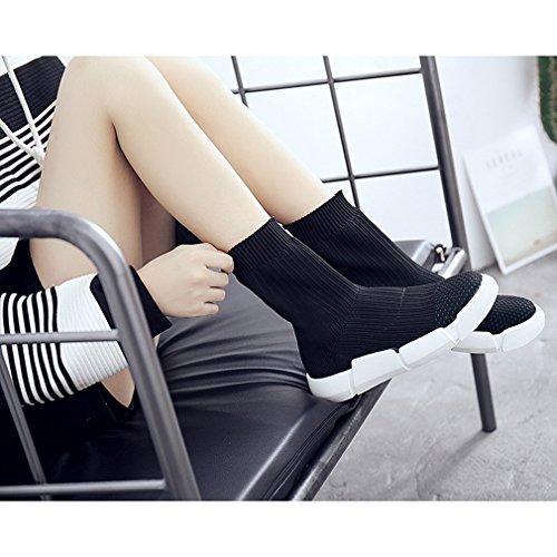Herbst EOZY Winter Damen Top Stiefel Stiefel Kurzschaft Flach High Gestickt Schwarz Mädchen Stiefelette 00Zwr