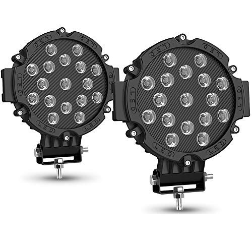 2PACK 7' LED Offroad Pod Lights Bar 51W with Mounting Bracket, Black Round Spot Bumper Driving Lamp Headlight Fog Light for Offroader, Truck, Car, ATV, SUV, Jeep, Construction, Camping, Hunters