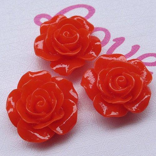 (Chenkou Craft Resin Rose Flower Flatback Buttons DIY Scrapbooking Ornament 20pcs)