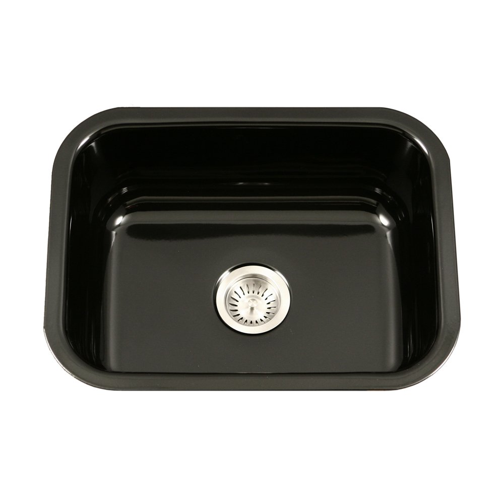 Houzer PCS-2500 BL Porcela Series Porcelain Enamel Steel Undermount Single Bowl Kitchen Sink, Black