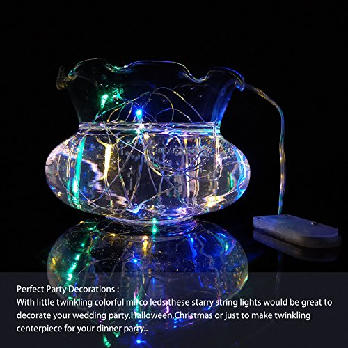 LED String Lights Battery string lights 30LED fairy String Lights on 7.2ft Copper Wire lights for DIY Decoration Costume Wedding Valentines holiday party lights.(6 PACKS-MULTI COLOR)