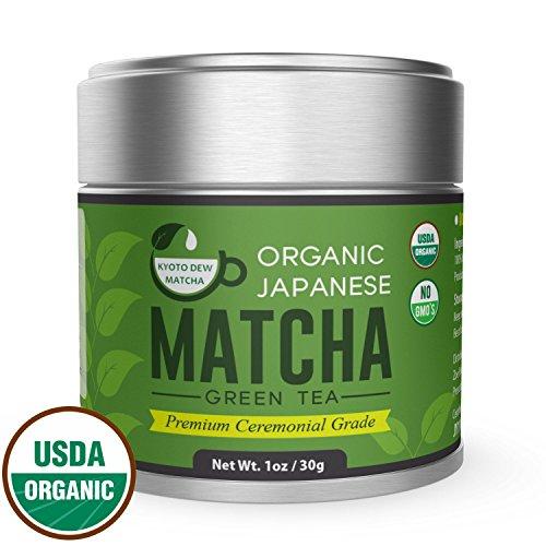 KYOTO DEW Matcha Green Tea Powder [USDA Organic] Premium Ceremonial Grade - Japanese 30g [1.06oz]