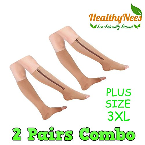 HealthyNees 2 Pairs Black & Beige Combo PLUS SIZE 3XL 15-20 mmHg Zipper Compression Leg Calf Medical Support Circulation Open Toe Socks (Beige)