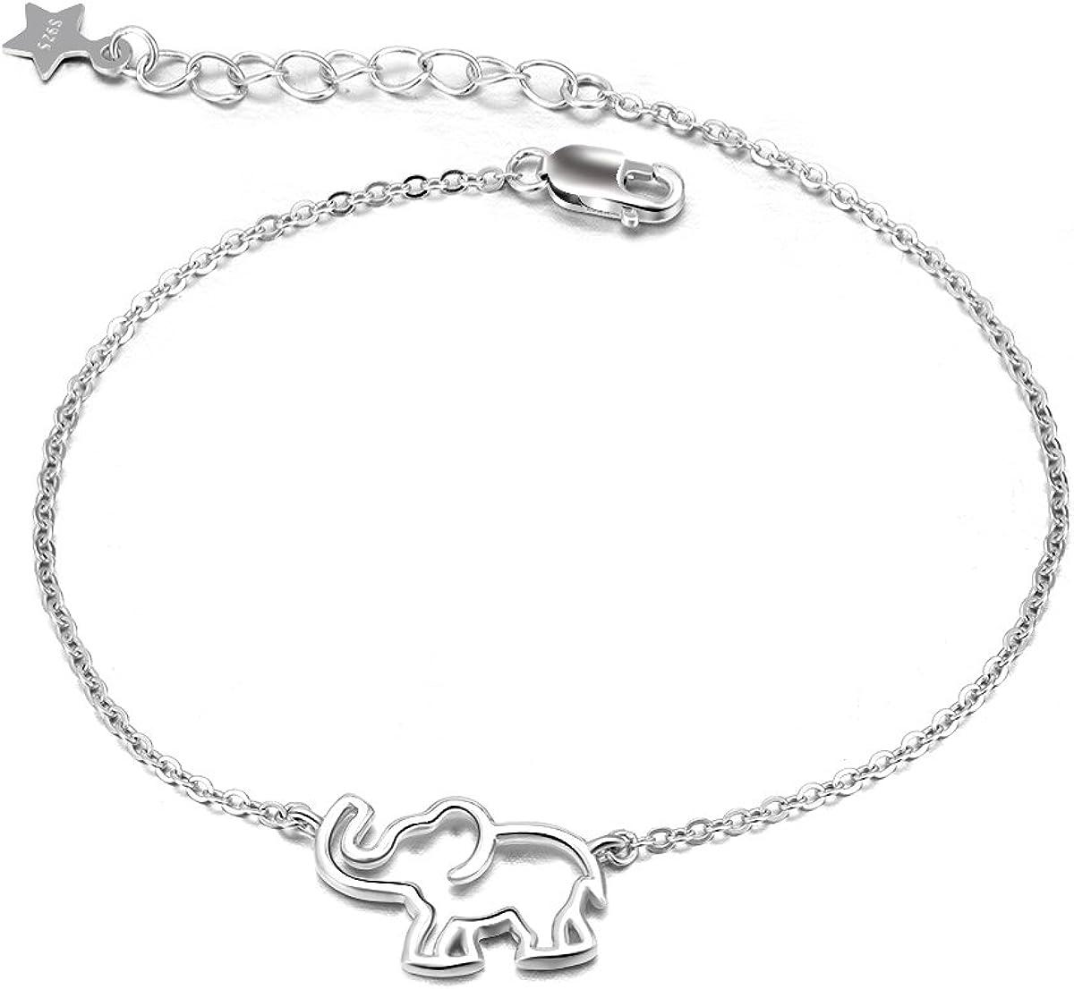 Pulsera de elefante de plata de ley con cadena de elefante de la suerte, ajustable para mujeres y niñas