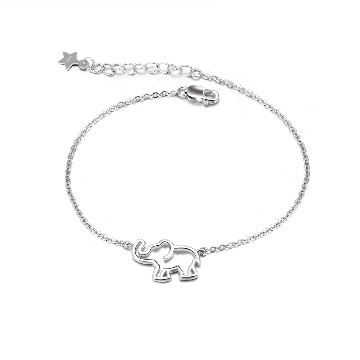 LUHE Elephant Bracelet Sterling Silver Adjustable Cable Chain Bracelets for Women