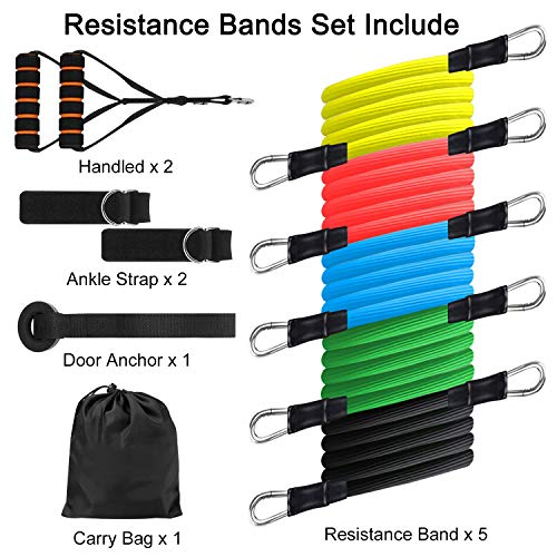 Resistance Bands Set,Workout Bands with Handles,Ankle Straps and Door Anchor for Home Workouts,Resistance Training,Physical Therapy,Yoga,GYM Stackable Up To 100 lbs(11 Pack)