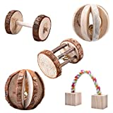 5Pcs Little Pets Natural Wooden Chew Toys Pine Dumbells Unicycle Bell Roller Chew Toy For Cat Rabbits Hamster Rat by Awtang