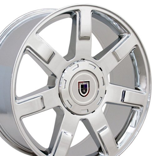Plated Chrome Rims Aluminum (OE Wheels 22 Inch Fits Chevy Silverado Tahoe GMC Sierra Yukon Cadillac Escalade CV80 Chrome 22x9 Rim Hollander 5309)