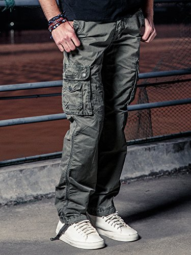 OCHENTA Men's Cotton Washed Multi Pockets Military Cargo Pant #3287 Grey Green 38