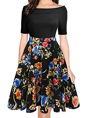 oxiuly Women's Vintage Off Shoulder Pockets Casual Floral A-Line Party Dress 232 (XL, Black)