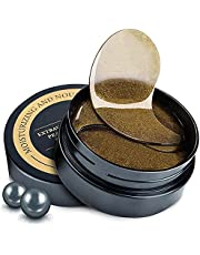 Under Eye Patches,24K Gold Repair & Black Pearl Brighten & Collagen Moisturizing Under Eye Mask,Complete Treatment for Eye Bags & Dark Circles & Wrinkles & Fine Lines & Anti-Aging (Black Pearl,60Pcs)