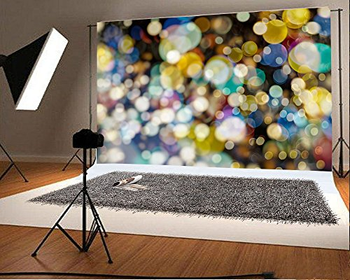 LFEEY 7x5ft Glitter Bokeh Halos Backdrop Sparkle Neon Spots Photography Background Kid Adult Birthday Party Decor Baby Shower Banner Studio Props Fashion Youngster Blog Web Online Celebrity Live Drops ()