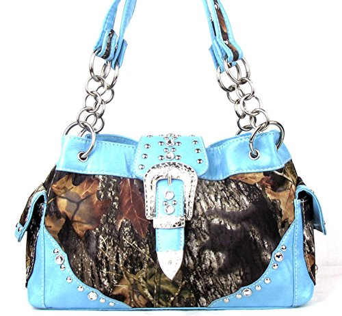 Western Belt Buckle Purse Camouflage Camo Handbag (blue) - Camouflage Buckle