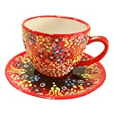 Handmade Traditional Turkish Pottery Stoneware Tea Cups with Saucers (Red)